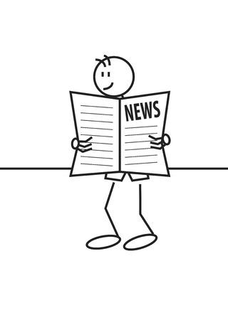 新聞を読んで幸せな少年のスティック図。良いニュースと通信の概念