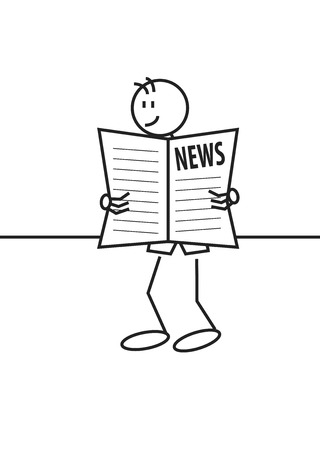 Stick figure of a happy boy reading a newspaper. Good news and communication concept