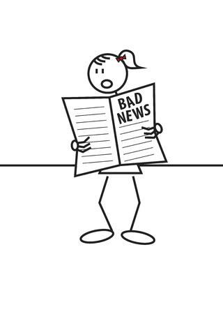Stick figure of a surprised girl reading a newspaper. Bad news and information concept Vector