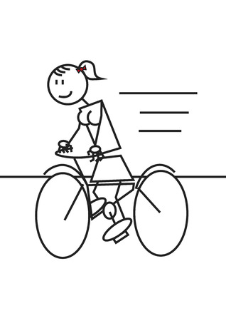 Stick figure of a girl mounted in a bike. Sport and leisure concept
