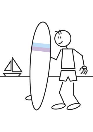 tabla de surf: Pegue la figura de un ni�o con una tabla de surf en la playa. Deportes y concepto de ocio
