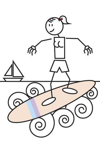 Stick figure of a girl surfing in the beach. Sports and leisure concept Vector