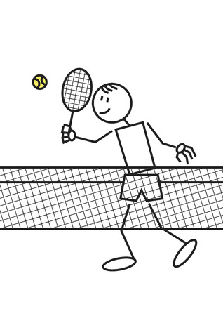 human figures: Stick figure of a boy playing tennis. Sports and leisure concept