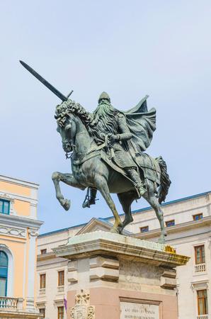 cid: Statue of Cid Campeador riding his horse babieca and holding his sword tizona Editorial