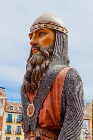 cid: Detail of a gigante in a gigantes y cabezudos parade. Cid Campeador