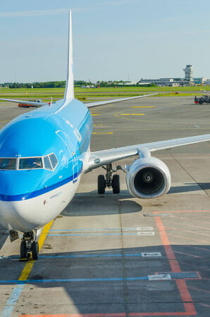 kastrup: COPENHAGEN, DENMARK - JUNE 7: A KLM airplane in the airport of Copenhagen, Denmark, on June 7, 2014. KLM is one of the most knowed aircraft lines in the world