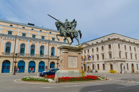 BURGOS, SPAIN - JULY 5: Cid Campeador equestrian statue in the city of Burgos, on July 5, 2014. Rodrigo Diaz de Vivar was the Cid Campeador, famous knight during spanish reconquest against the muslims