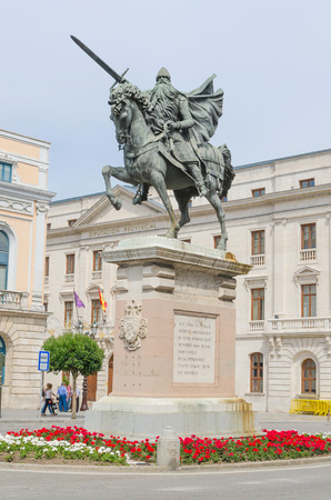 cid: BURGOS, SPAIN - JULY 5: Cid Campeador riding babieca. Equestrian statue in the city of Burgos, on July 5, 2014. Rodrigo Diaz de Vivar was the Cid Campeador, famous knight during spanish reconquest.