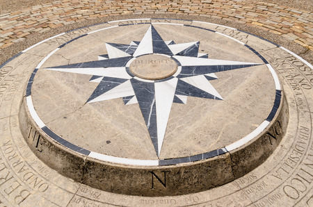 Compass rose placed on the ground in Burgos, Castile and Leon, Spain photo
