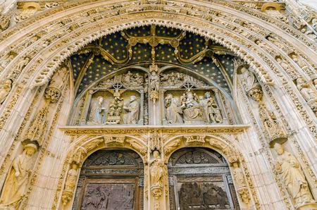 Detail of Santa Maria la Real door. Aranda de Duero, Burgos, Spain photo