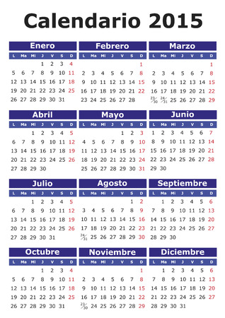 2015 vector calendar in Spanish. Easy for edit and apply. Calendario 2015 Vector