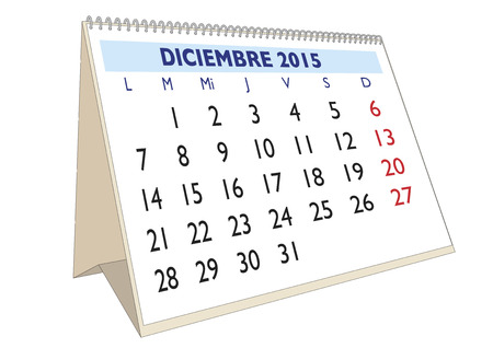 December month in a year 2015 calendar in spanish. Diciembre 2015 Illustration