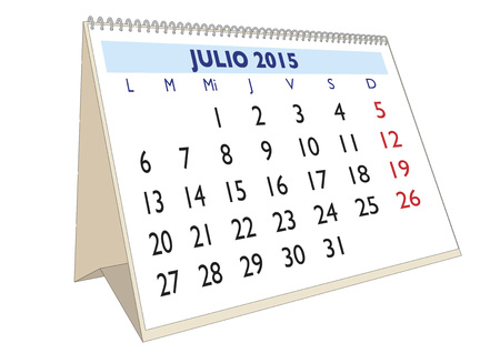 July month in a year 2015 calendar in spanish. Julio 2015 Illustration