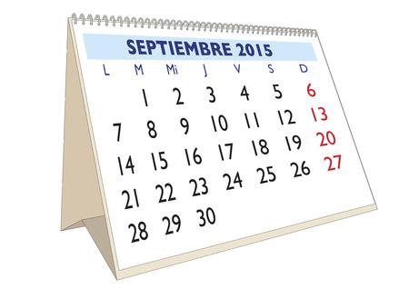 September month in a year 2015 calendar in spanish. Septiembre 2015 Vector