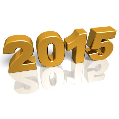 Golden new year 2015 with reflections. 3d render photo