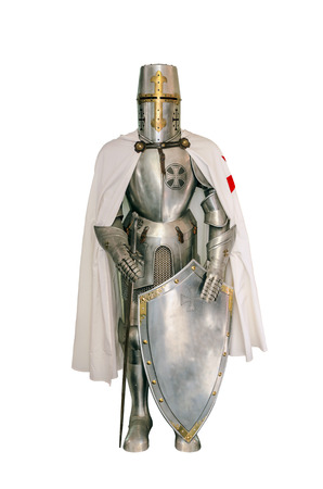 Templar knight isolated over a white background Archivio Fotografico