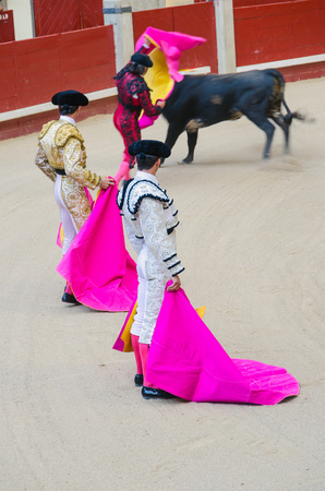 capote: Two bullfighters observe to another bullfighter giving the bull a pass  Stock Photo