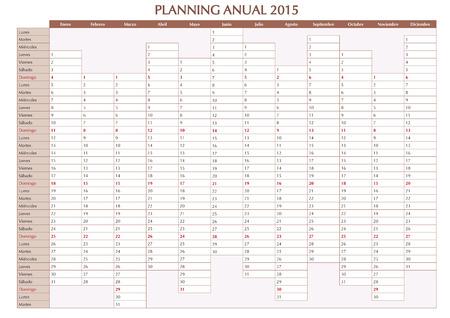 2015 Planificateur Annuel Calendrier Pour L Annee 2015 En Espagnol