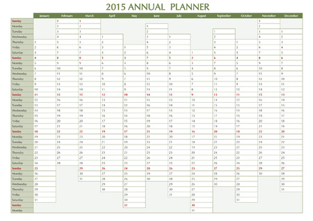 event planner: 2015 Annual planner. English calendar for year 2015. Week starts on Sunday