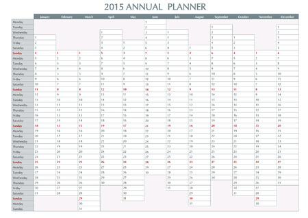 2015 Annual planner. English calendar for year 2015. Week starts on Monday Vector