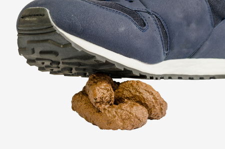 excretion: A sneaker steps onto a crap. Concept of good luck