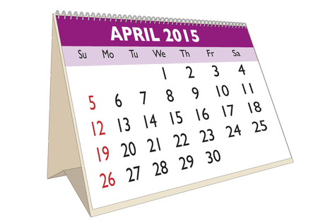 scheduler: April month in a year 2015 calendar in english. Week starts on Sunday Illustration