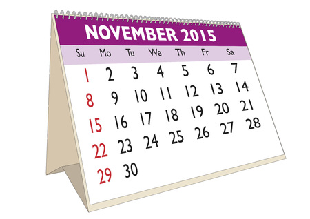 scheduler: November month in a year 2015 calendar in english. Week starts on Sunday