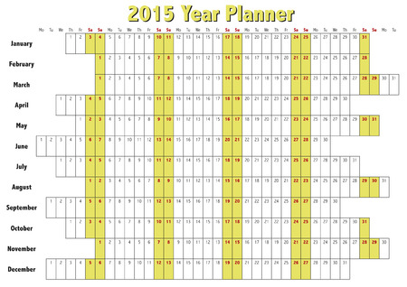 2015 Year planner in english. Annual Calendar for year 2015. Vector