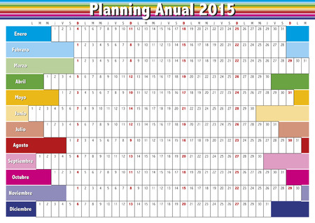 2015 Year planner in spanish. Annual Calendar for year 2015. Vector