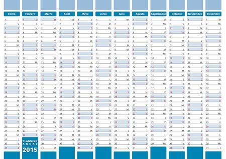 2015 planning in spanish. 2015 calendar Vector