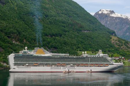 fjords: Liner moored in Geiranger. Norwegian fjords