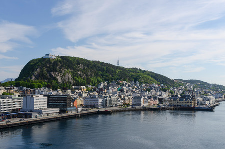 alesund: View of the mount Aksla in the city of Alesund. Norway