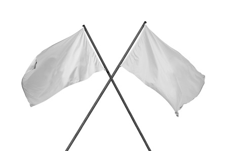 Two blank and cleared white flags crossed. Flags are isolated on white.