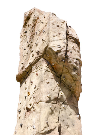 recreational climbing: Detail of an artificial climbing wall isolated over white