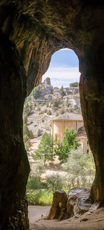 lobos: Templar hermitage of Saint Bartholomew of Ucero, as seen from the big cave. Rio Lobos Canyon, Soria, Spain
