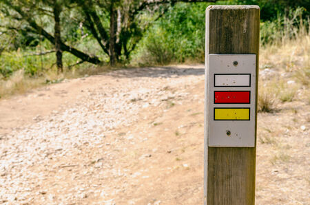 gr: gr and pr sign in a footpath. Short and long route signal. Spain