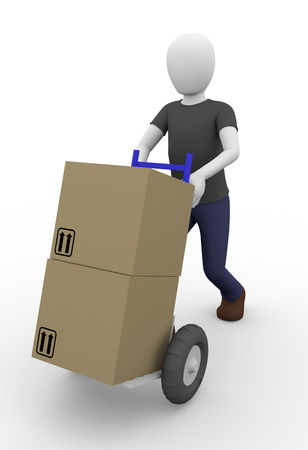 Delivery man carrying some cardboard boxes in a cart photo