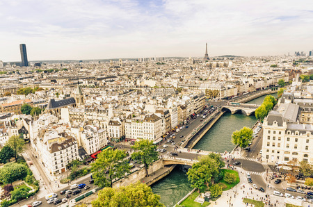 View of the streets of Paris and river sena from Notre Dame cathedral photo