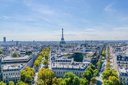triumphal: Skyline of Paris view from Triumphal arch Stock Photo