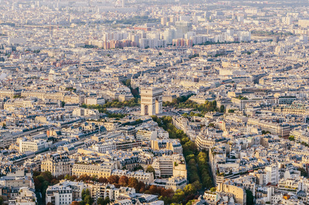 Sightseeing view of Charles de Gaulle Square and the triumphal arch in Paris. Arc de triomphe