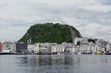 alesund: View of mount Aksla in the city of Alesund. Norway