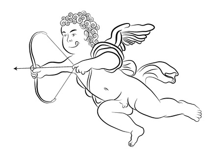 to adore: A cherub is firing an arrow with his arch. Valentines and love concept Illustration