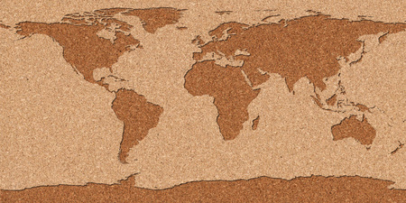 Map of the world made with a cork plank.  photo