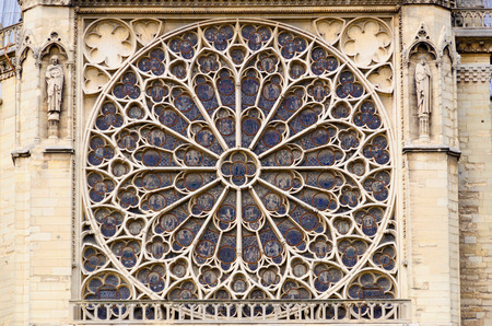 Rose window in Notre Dame Cathedral. Paris. France Stock Photo