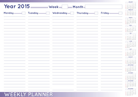 scheduler: 2015 Weekly planner or scheduler with a 2015 calendar. Size A-3. You can put day and week numbers and month names at your own. Illustration