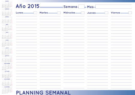 weekly: 2015 Weekly planner. Spanish calendar for year 2015. Week starts on Monday