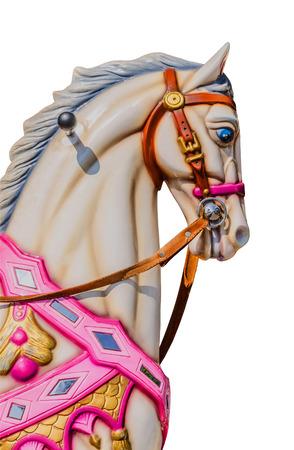 Paard in een carrousel die over een witte achtergrond. Stockfoto