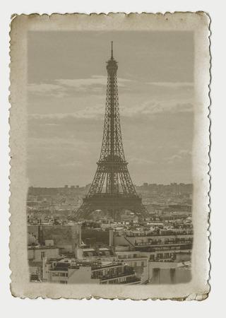 Vintage photography of Eiffel Tower in Paris. Art nouveau style picture. photo