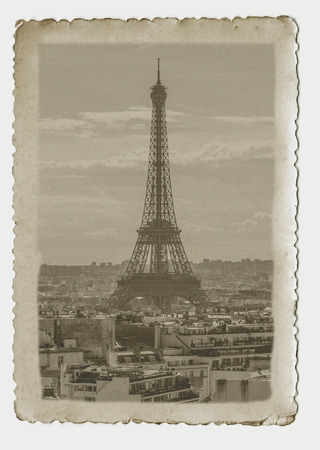 historic and vintage: Vintage photography of Eiffel Tower in Paris. Art nouveau style picture. Stock Photo