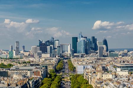 la defense: View of Grande arche de la defense and business district of Paris as seen from triumphal arch